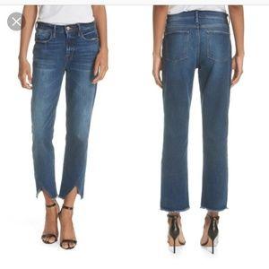 frame | nwt le high straight asymmetrical hem jean